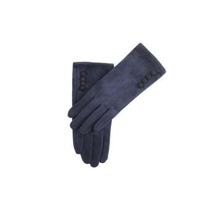 Gemini Label Accessories Nancy Faux Suede Button Trimaa Glove - Blue