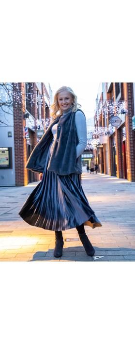 Pour Moi Velvet Pleated Skirt Grigio