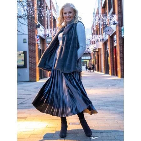 Pour Moi Velvet Pleated Skirt - Grey