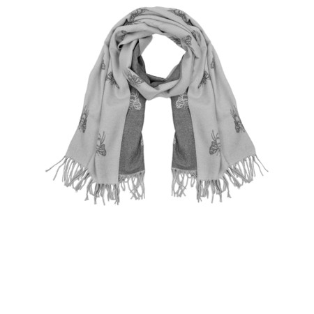 Gemini Label Accessories Queen Bee Reversible Cashmere Touch Scarf - Grey