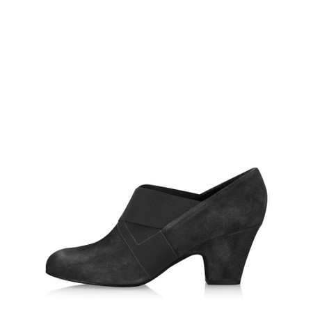 Gemini Label Shoes Bepra Black Suede Crossover Elastic Shoe - Black