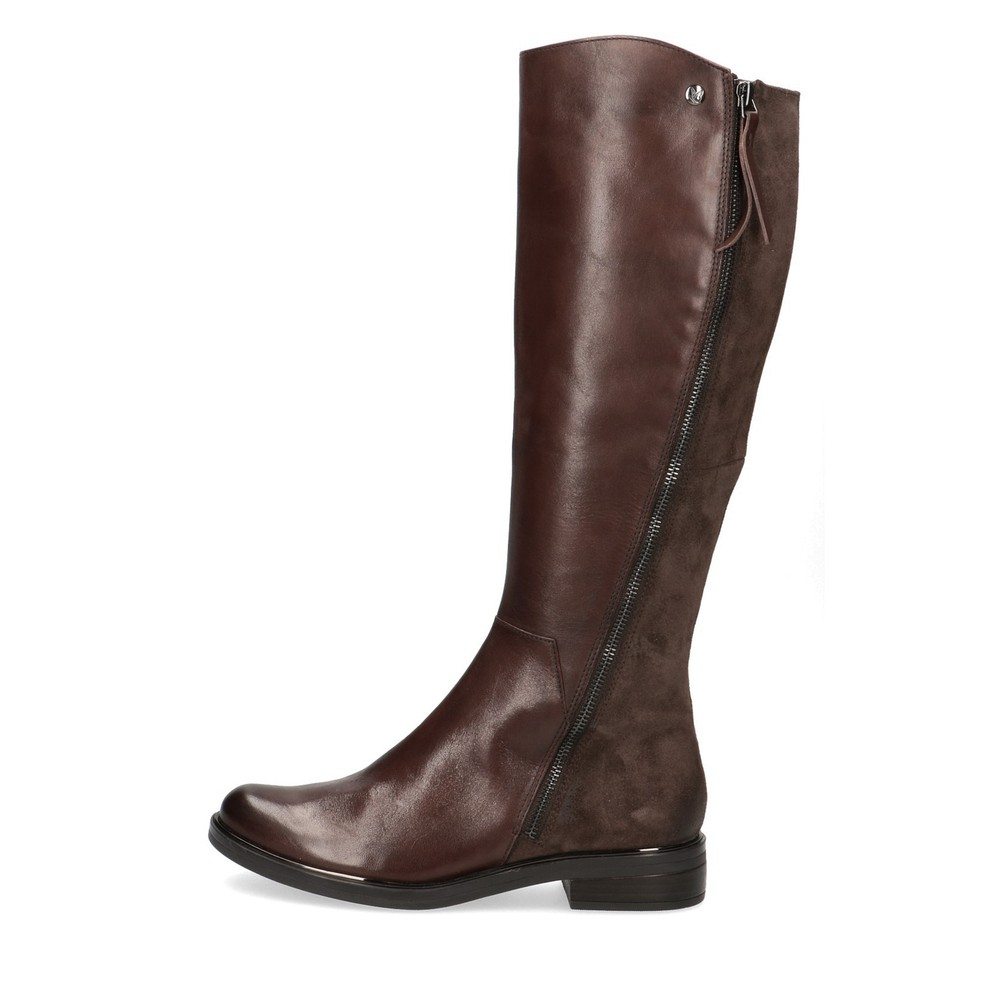 Caprice Footwear Gisela Leather Boot With Side Zip  Dark Brown