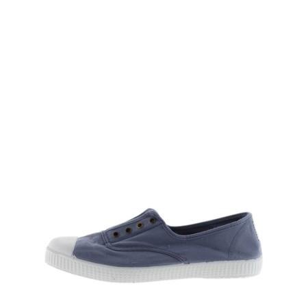 Victoria Shoes Dora Blue Organic Cotton Washable No Lace Pump - Blue