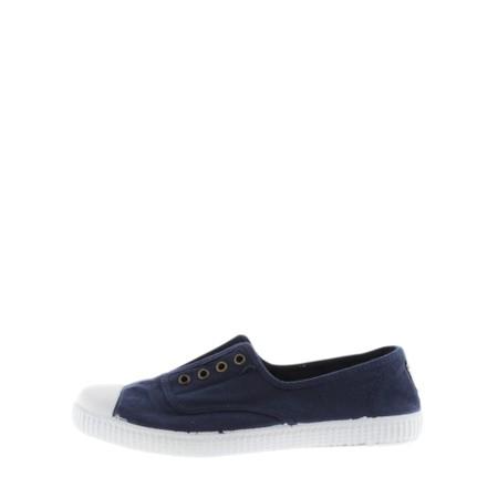 Victoria Shoes Dora Navy Organic Cotton Washable No Lace Pump - Blue