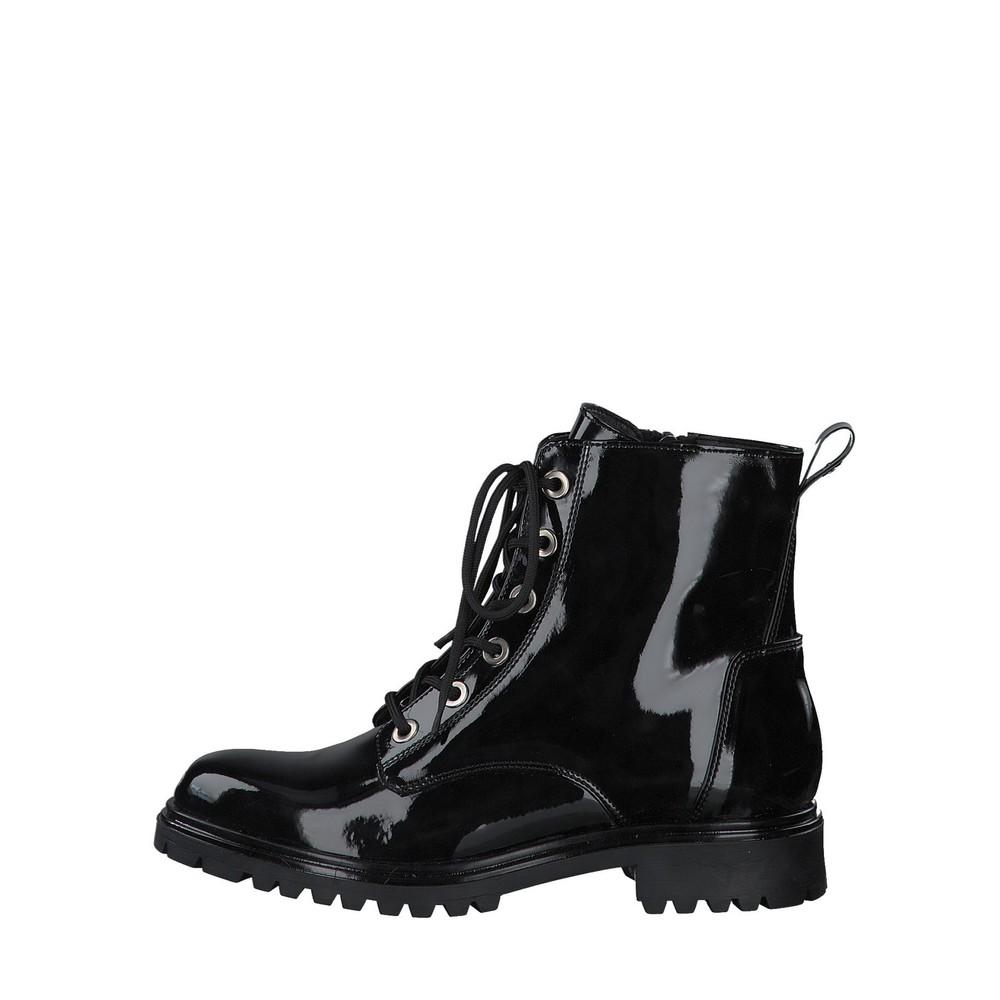 Tamaris Soul Patent Combat Boot  Black Patent