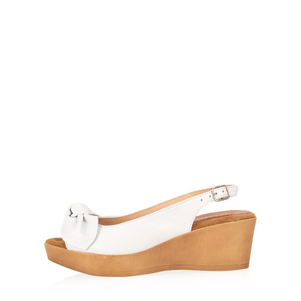 Gemini Label Shoes Bunny Leather Wedge Sandal Blanco White