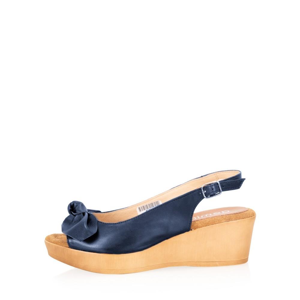 Gemini Label Shoes Bunny Leather Wedge Sandal Marino Navy