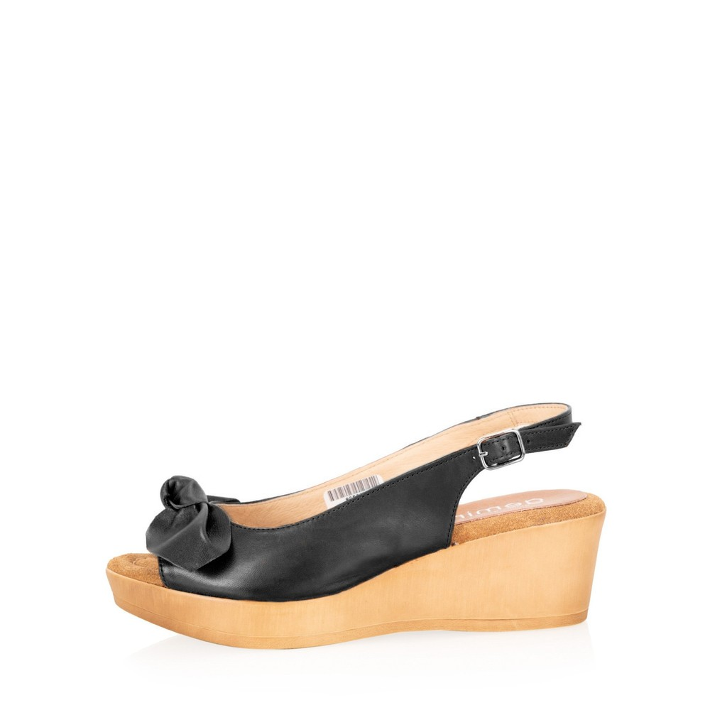 Gemini Label Shoes Bunny Leather Wedge Sandal Nero Black