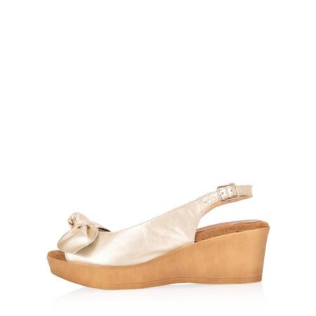 Gemini Label Shoes Bunny Leather Wedge Sandal - Metallic