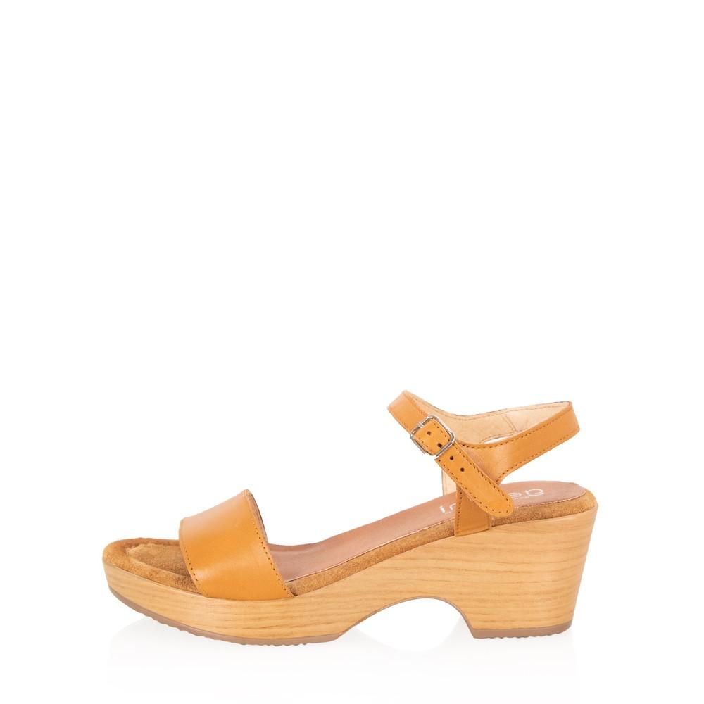 Gemini Label Shoes Aneka Icon Tan Leather Wedge Sandal Honey Tan