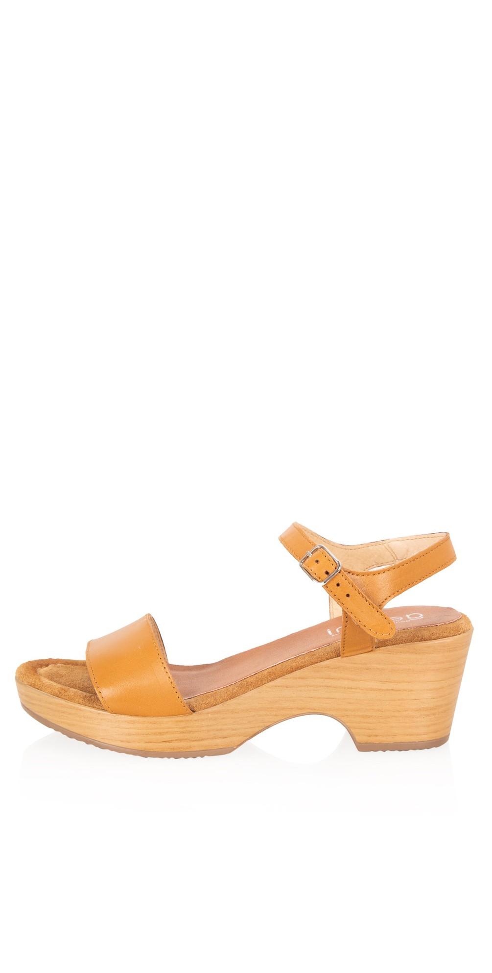 Aneka Icon Tan Leather Wedge Sandal main image