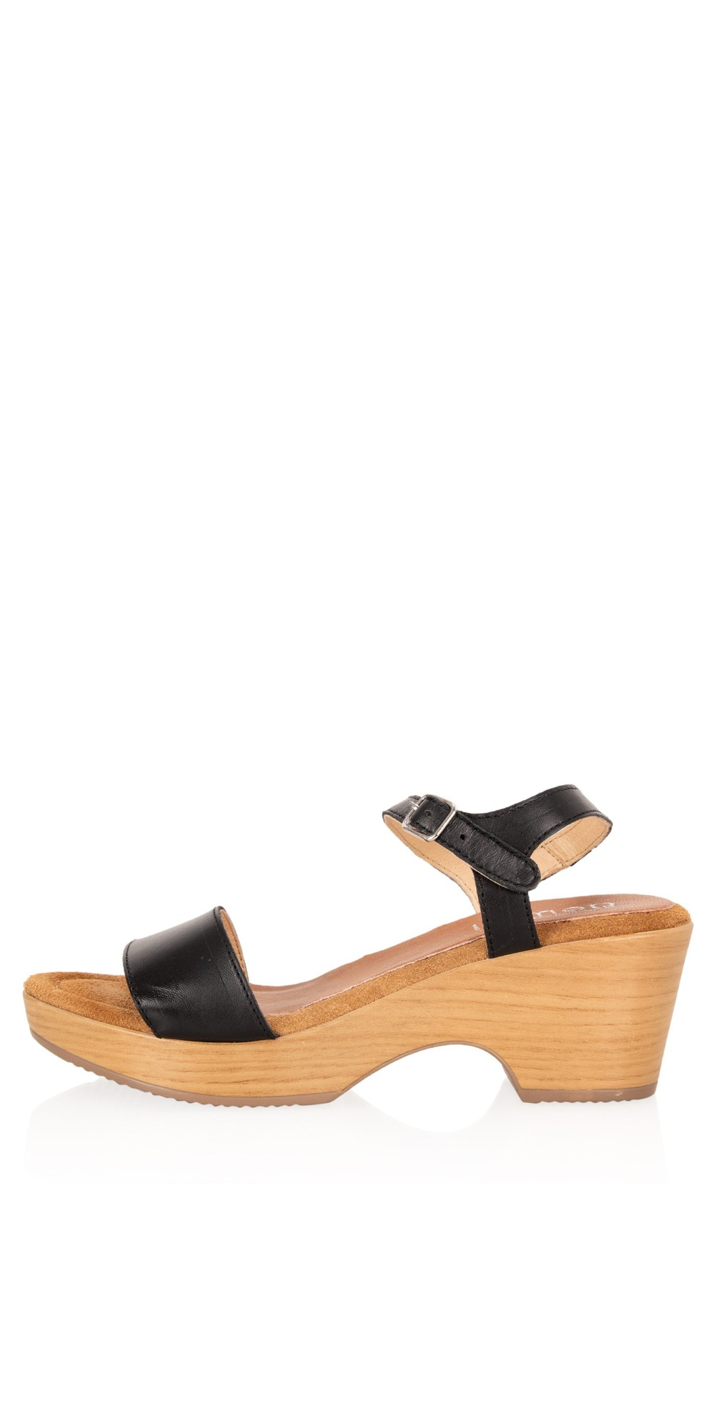 Aneka Icon Black Leather Wedge Sandal main image