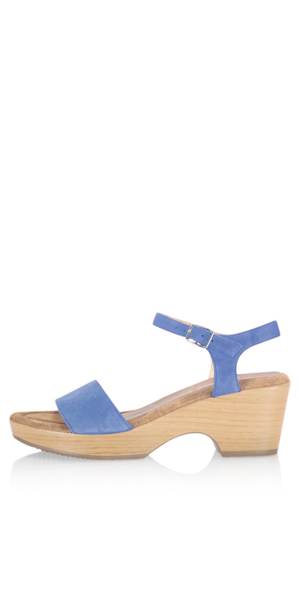 Aneka Icon Anton Blue Suede Wedge Sandal main image