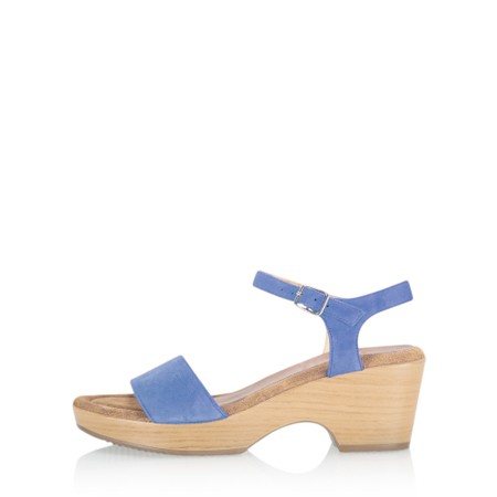 Gemini Label Shoes Aneka Icon Anton Blue Suede Wedge Sandal - Blue