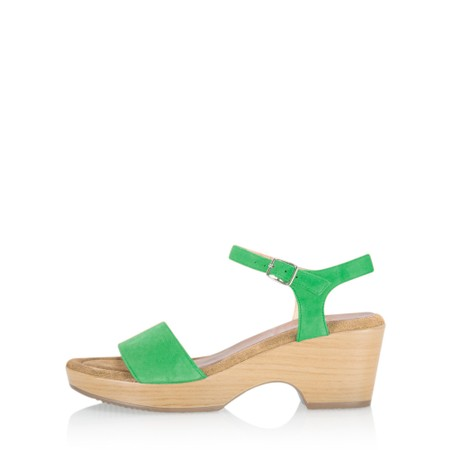 Gemini Label Shoes Aneka Icon Suede Wedge Sandal - Green