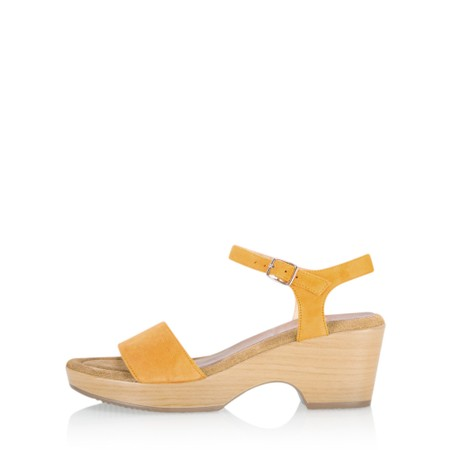Gemini Label Shoes Aneka Icon Suede Wedge Sandal - Yellow