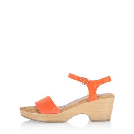 Gemini Label Shoes Aneka Icon Orange Suede Wedge Sandal - Orange