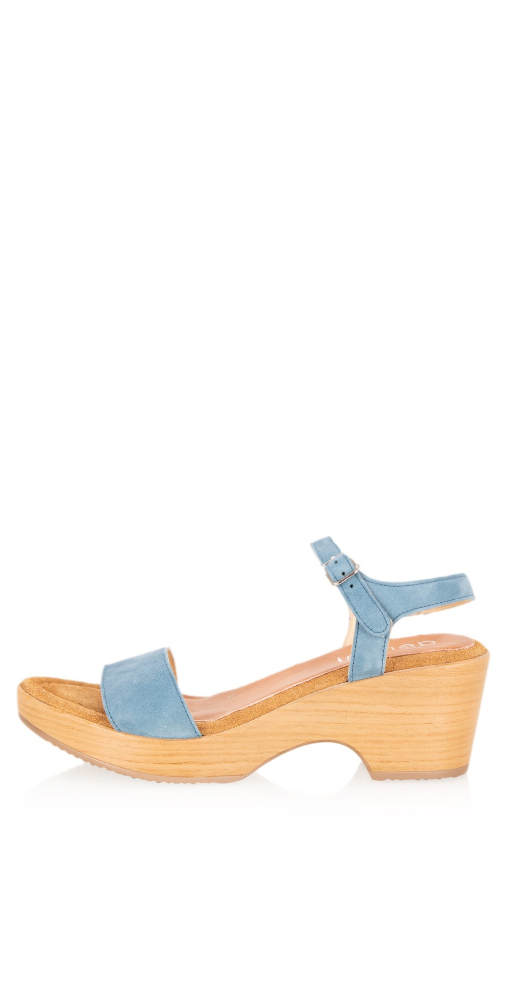 Aneka Icon Jeans Blue Suede Wedge Sandal main image