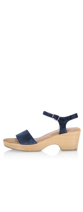 Gemini Label Shoes Aneka Icon Navy Suede Wedge Sandal Marino Navy