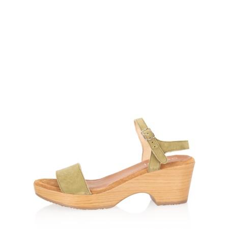 Gemini Label Shoes Aneka Icon Khaki Suede Wedge Sandal - Green