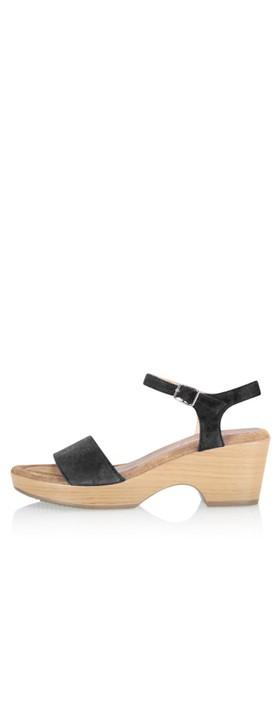 Gemini Label Shoes Aneka Icon Black Suede Wedge Sandal Nero Black