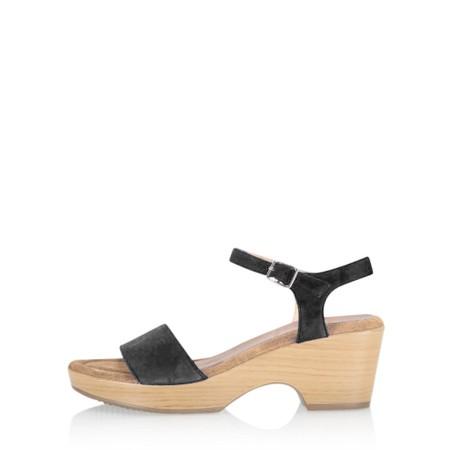Gemini Label Shoes Aneka Icon Black Suede Wedge Sandal - Black