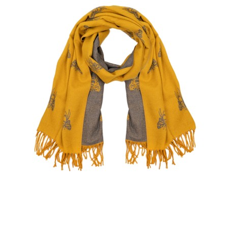 Gemini Label Accessories Queen Bee Reversible Cashmere Touch Scarf - Yellow