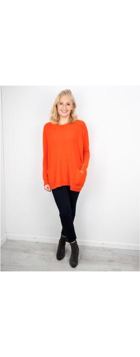 Amazing Woman Caryf X Round Neck Oversized Jumper Orange
