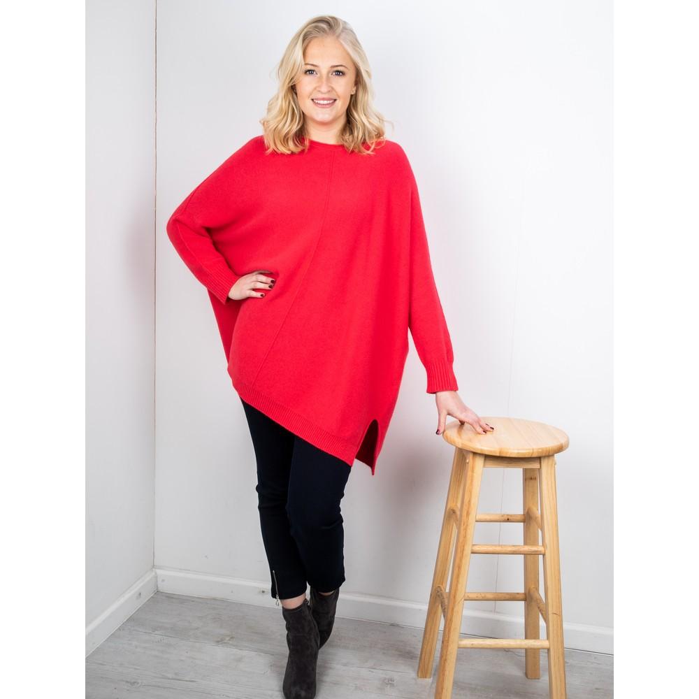 Amazing Woman Cassi X Round Neck Front Seam Knit Dark Red
