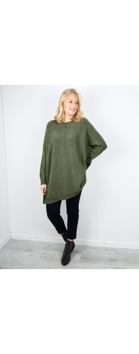 Amazing Woman Cassi X Round Neck Front Seam Knit Olive