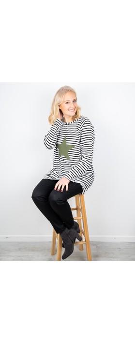 Chalk Robyn Stripe Star Top Black / White / Khaki