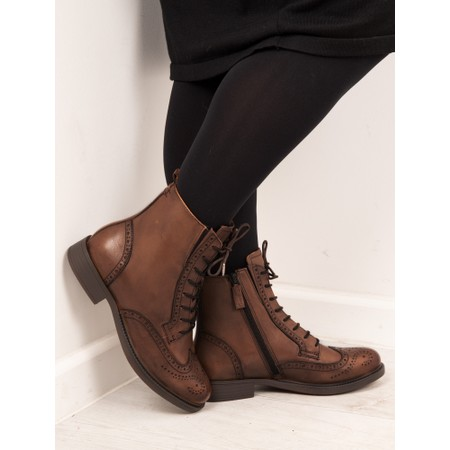 Tamaris  Suzan Lace Up Ankle Boot - Brown