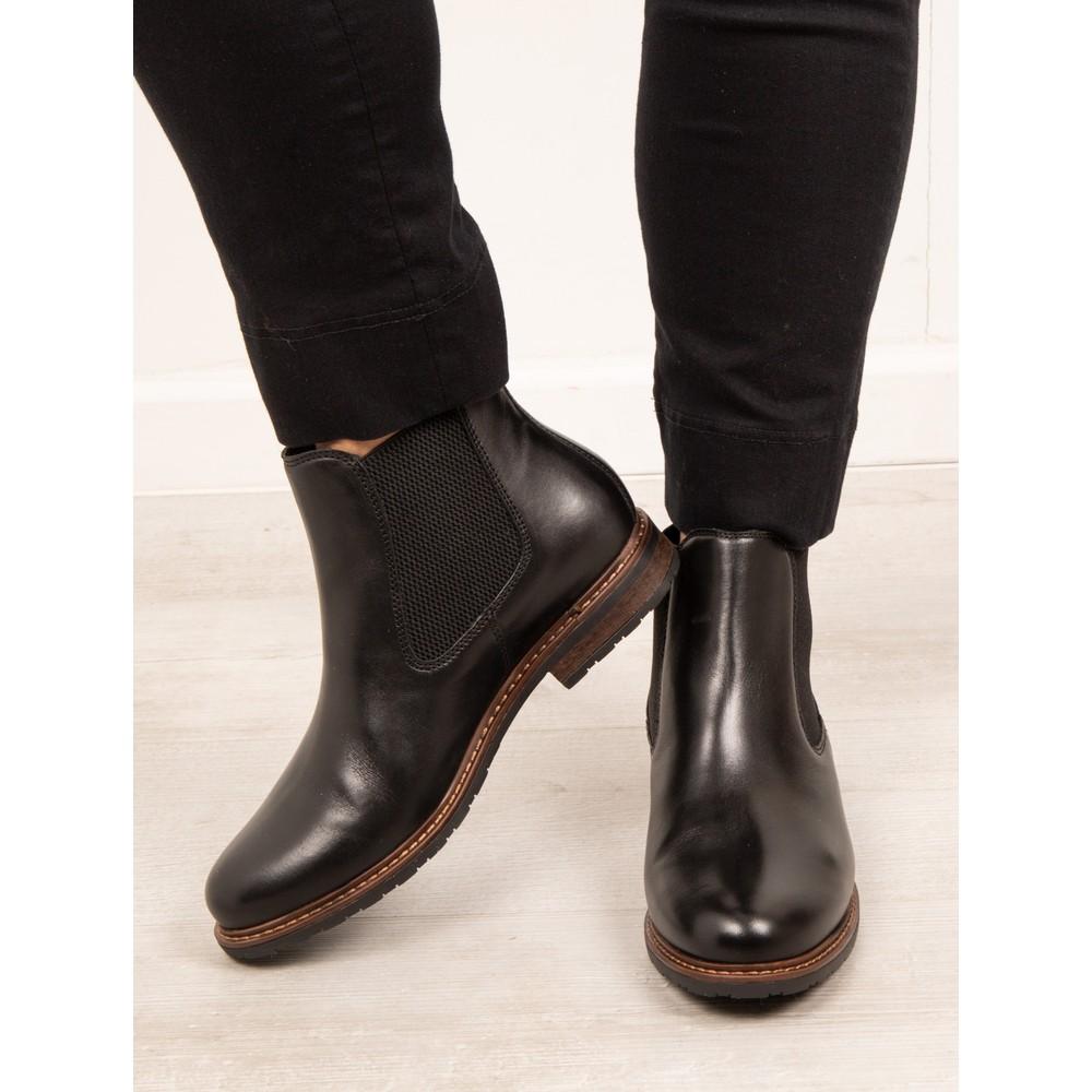 Tamaris Belin Leather Chelsea Boot Black