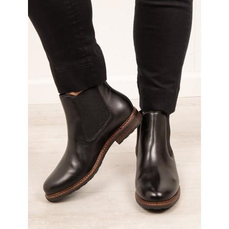 Tamaris Belin Leather Chelsea Boot - Black