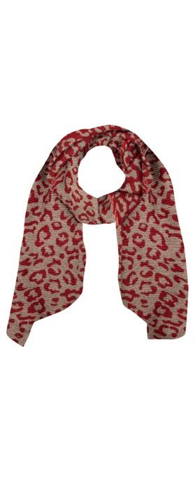 Gemini Label Accessories Revo Leopard Scarf Red