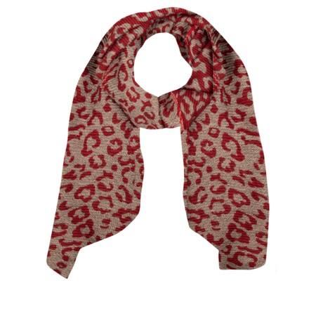 Gemini Label Accessories Revo Leopard Scarf - Red