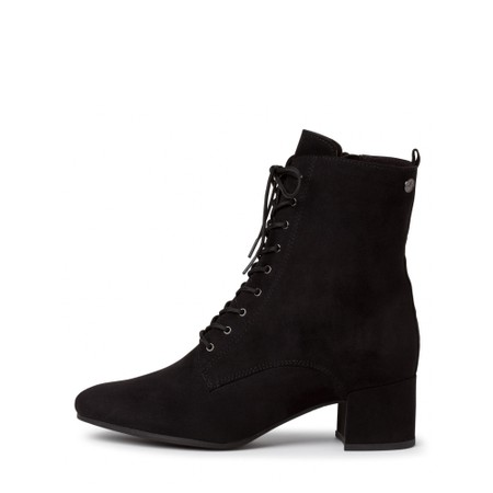 Tamaris  Cika Lace Front Faux Suede Ankle Boot - Black