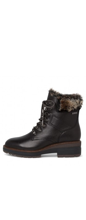 Tamaris  Hiker Leather Duotex Fur Trim Boot  Black