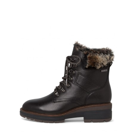 Tamaris  Hiker Leather Duotex Fur Trim Boot  - Black