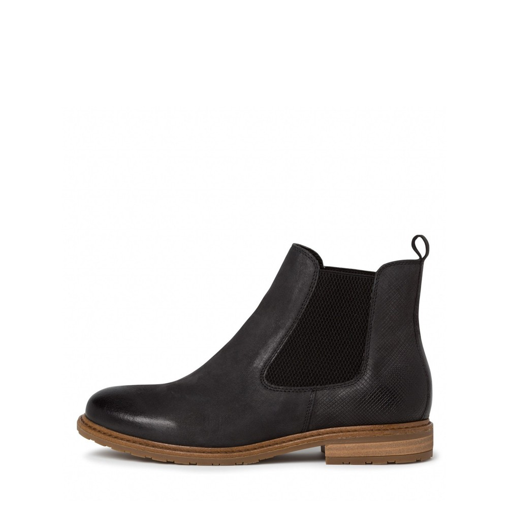 Tamaris Belin Leather Chelsea Boot Black Combi