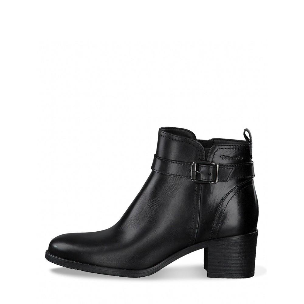 Tamaris Pauletta Buckle Detail Leather Ankle Boot Black