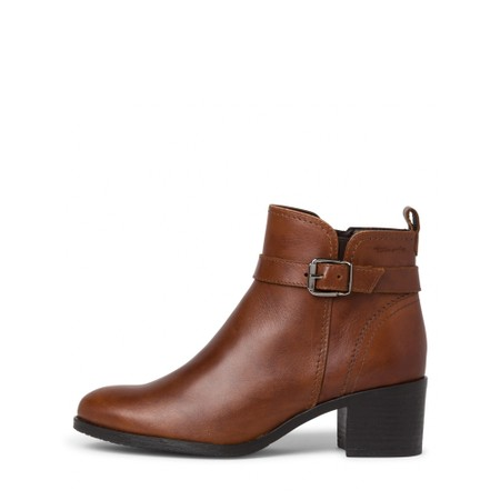 Tamaris  Pauletta Buckle Detail Leather Ankle Boot - Brown
