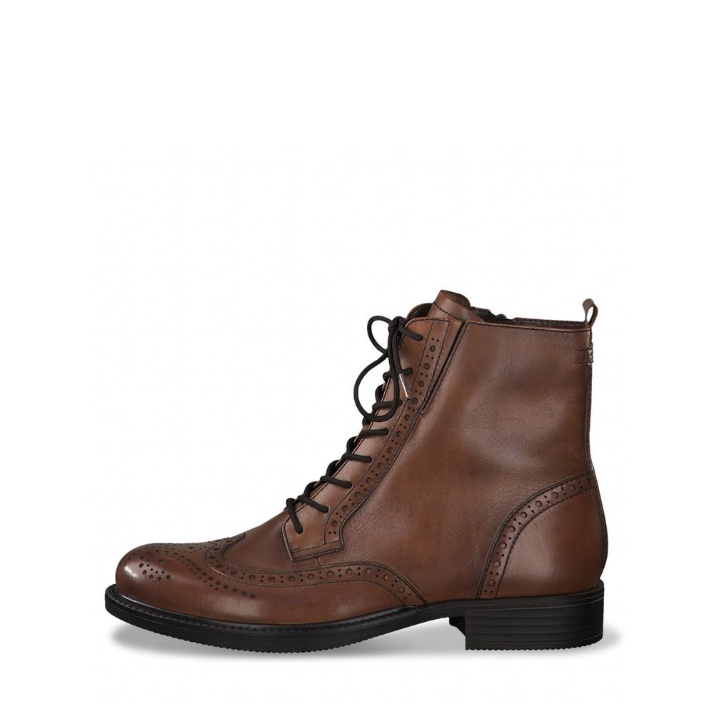 Tamaris Suzan Lace Up Ankle Boot Cognac