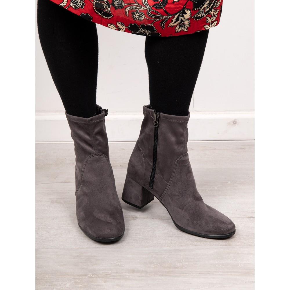 Tamaris Nadda Stretch Ankle Boot Block Heel Anthracite