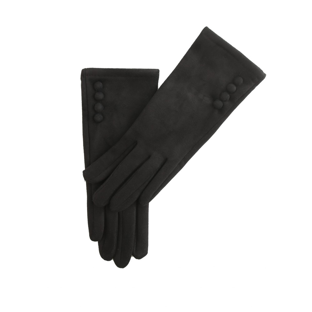 Gemini Label Accessories Nancy Faux Suede Button Trim Glove Black
