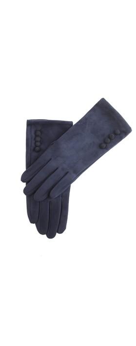 Gemini Label Accessories Nancy Faux Suede Button Trim Glove Navy