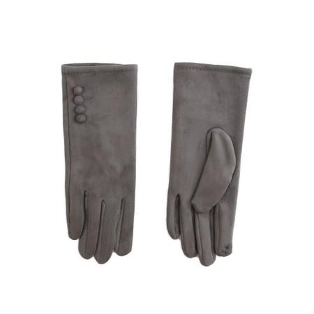 Gemini Label Accessories Nancy Faux Suede Button Trim Glove - Blue