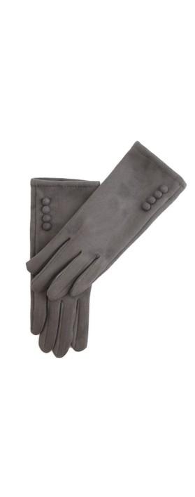 Gemini Label Accessories Nancy Faux Suede Button Trim Glove Grey