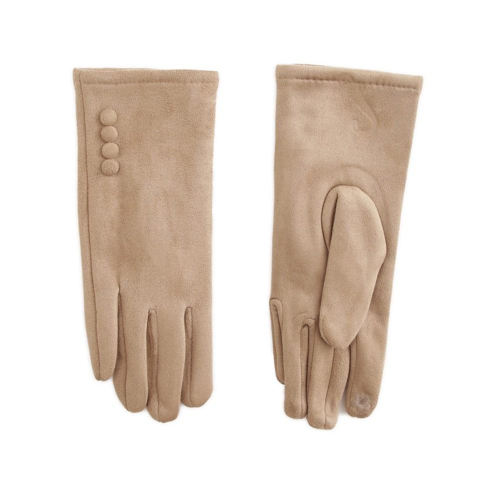Gemini Label Accessories Nancy Faux Suede Button Trim Glove Beige
