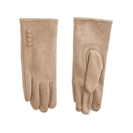 Gemini Label Accessories Nancy Faux Suede Button Trim Glove - Beige